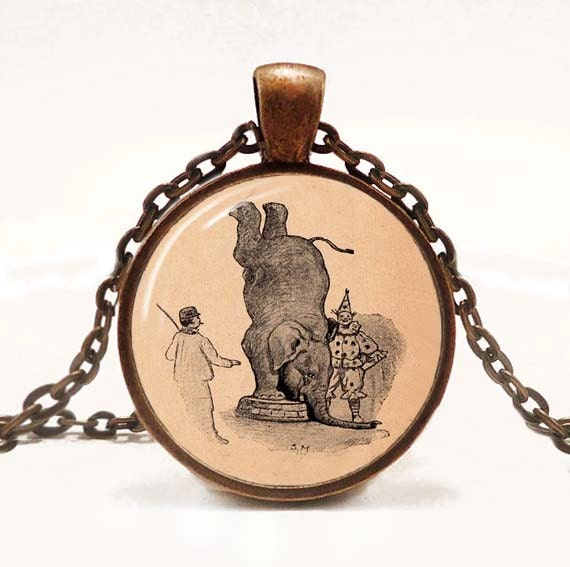 Elephant Handstand Pendant Necklace Vintage Circus Jewelry Pendant Elephant Pink Resin Pendant