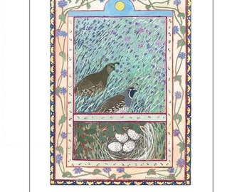 Artists Blank Note Cards, Quail with nest, Flowery Meadow