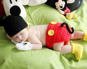 Mickey Hat Diaper Cover with Tail,Yellow Bow Tie gloves shoes,size Preemie Newborn 0-3 month, 3-6 month,6-12 month,12-19 month mouse Costume