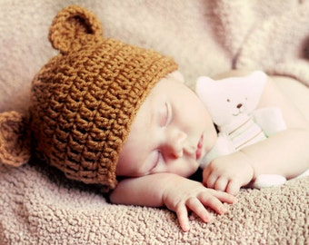 BABY Brown Teddy Bear Hat, Boy or Girl Hat  Sizes 1-2 lb micro preemie,2-3lb micro preemie preemie newborn 0-3 month, 3-6 month,6-12 month