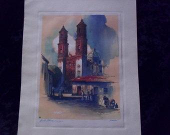 Borda Church Watercolor Print by Al Mettel - Tasco Mexico