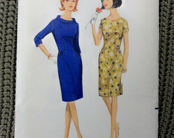 VINTAGE 1960s mAD mEN BUTTERICK DRESS Pattern sz 12 uncut