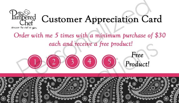 Personalized Customer/Hostess Appreciation Cards made for