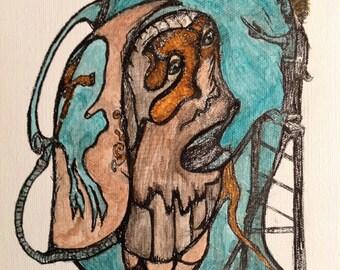 Aqua Romance - Origianl Drawing on Stretched Canvas - ( 8 x 10 )