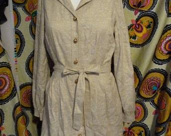 SALE fabulous jane andre of california circa 1960 button up shirt dress size medium small