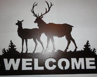 2 Elk Welcome Sign Metal Wall Art