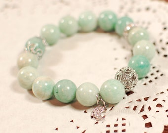 10% Sale Plus FREE SHIPPING - Natural Amazonite Gemstone Bracelet, Bangle - Good luck, Hope, Karma, Fortune, Aura