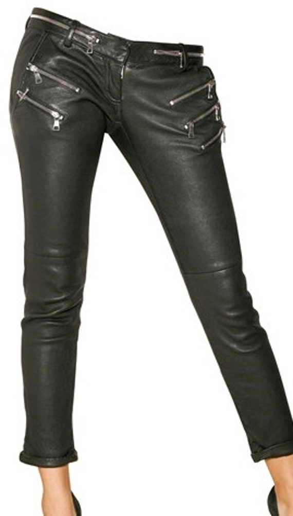 handmade women black Leather pants trousers with side zip , women black Biker Leather trousers cross zip, women leather pants  zip pockets