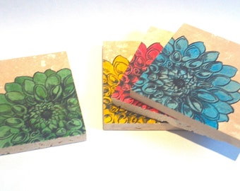 Brilliantly Colorful Flower Coasters - set of 4 - Ready to ship