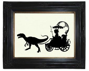 Silhouette Girl Pet Dinosaur Art Print Raptor Velociraptor Carriage Victorian Steampunk Art Print Shadow Cut