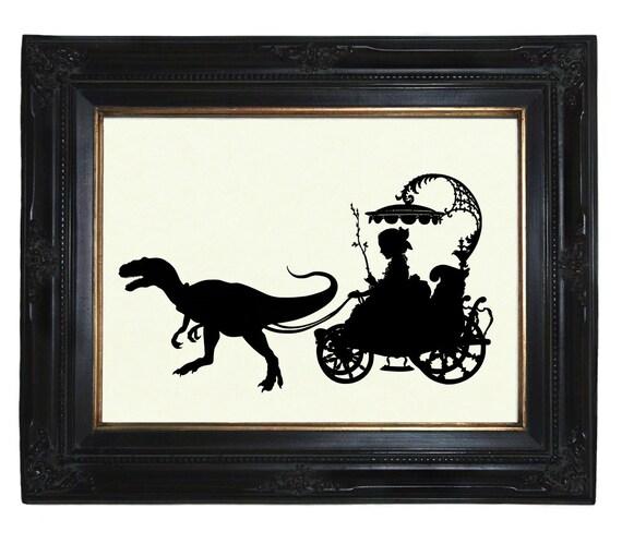 Silhouette Girl Carriage drawn by Pet Dinosaur Raptor Velociraptor Victorian Steampunk art print