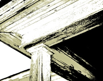 Monochromatic Photography, craftsman style post, weathered wood, architecture, olive green, black, Rustic Home Decor, Fine Art Print