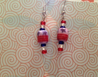 Patriotic Red, White, and Blue Dangle Earrings