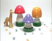 Happy Mushroom - Mini Wooden Mushroom Trio - Red, Lilac, Yellow - set D