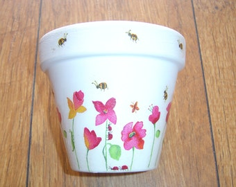 Hand Painted and Decoupaged Decorative Flower Pots ( Spring Flowers 2 )