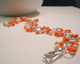Orange Sherbert Glass Bead Bracelet