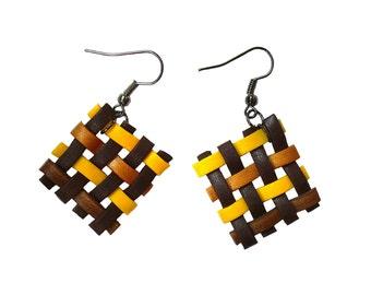Polymer clay earrings Woven earrings Brown earrings Square earrings Yellow earrings Dangle earrings Geometric earrings Spring Casual Simple