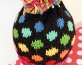 KATIE: Handknit baby hat, 6 month size, polka dots, pom-pom