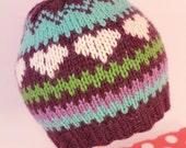 VIOLET: Handknit baby hat, 6 month size, stripes, hearts, purple, loop topper
