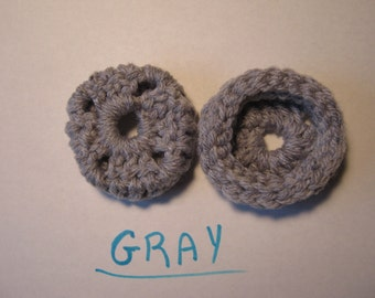 GRAY GREY Ear Muffs, Ear Pads, Ear Cookies for Phone Headset, Call Center, Hand-crochetted, NEW.