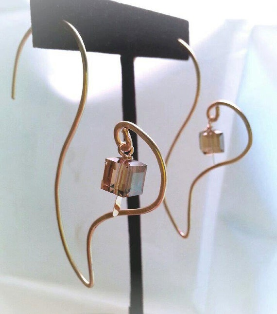 Stunning shaped earrings, hand forged and any color crystal and metal