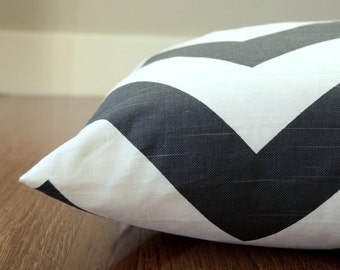 Chevron Large Dog Bed Cover, Charcoal Zig Zag Pet Bed, Personalizable Duvet Cover, Choose Your Size
