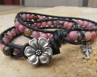 Gemstone Bead & Leather Double Wrap Bracelet