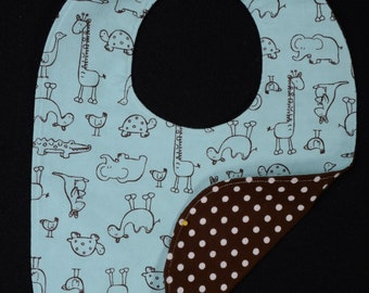 Cotton Flannel Reversible Baby Bib with Animals and Polka Dots