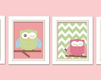Nursery Quad, Pink and Green Nursery, Owl Nursery, Set of 4 8X10, Pink, Green, Blue