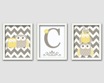 Nursery Art Trio, Nursery Owl Art, Grey and Yellow Nursery, Owl Nursery, Personalized, Set of 3 8x10