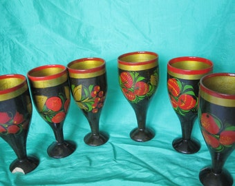 Vintage Handmade Russian Folk Art - Khokhloma old set of wooden hand painted stemmed glasses, cups made in Russia, CCCP