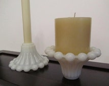 Shabby chic decor,candle holder,glass candle holders, wedding candle sticks, vintage milk glass.mid century decor,