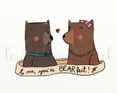 Card with fond bears in brown, mint and pink, romantic illustration for children, To me you're BEARfect - LaDouceurDuMiel