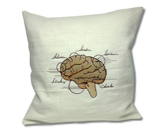 Anatomy Collection Linen Cushion Brain