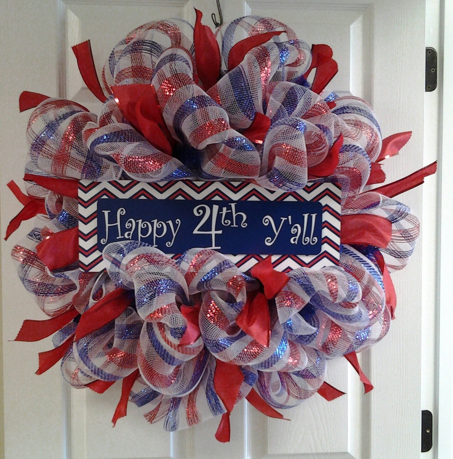 4th Of July Deco Mesh Wreath Red White And Blue 4th Of July