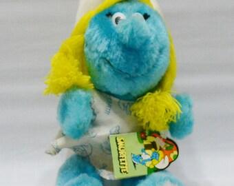 Vintage Smurfette Plush Toy - Smurfette Doll - 1981 - Original Tag - Smurfs - Stuffed