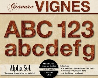 Gravure Vignes Alpha Set - Instant Download