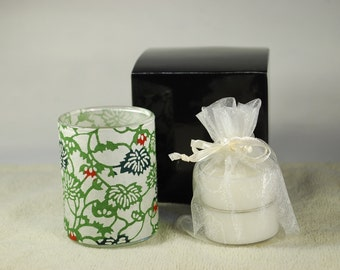 Votive Luminary, Petite Flowering Vines, Japanese Katazome-shi Paper