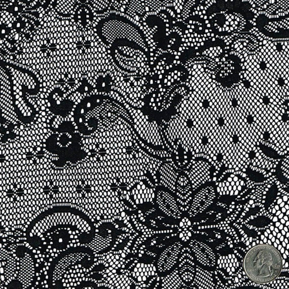 Mistique vintage black lace fabric by the yard table runner curtain