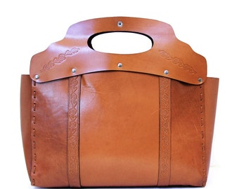 Vintage Leather Bag/ Leather Tooled Tote Bag