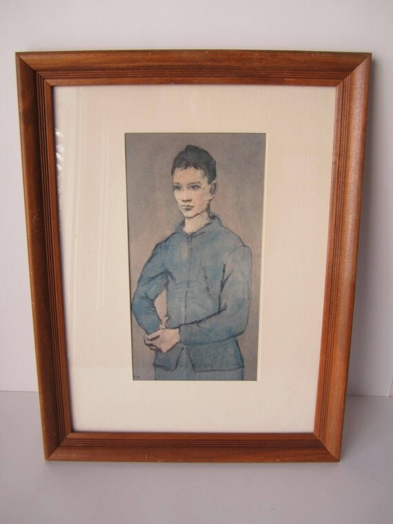 Vintage Picasso Framed Blue Boy Art