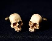 Victorian Skull Men Cufflinks - Scary Hand made resin skull men cuff links - groom cufflinks