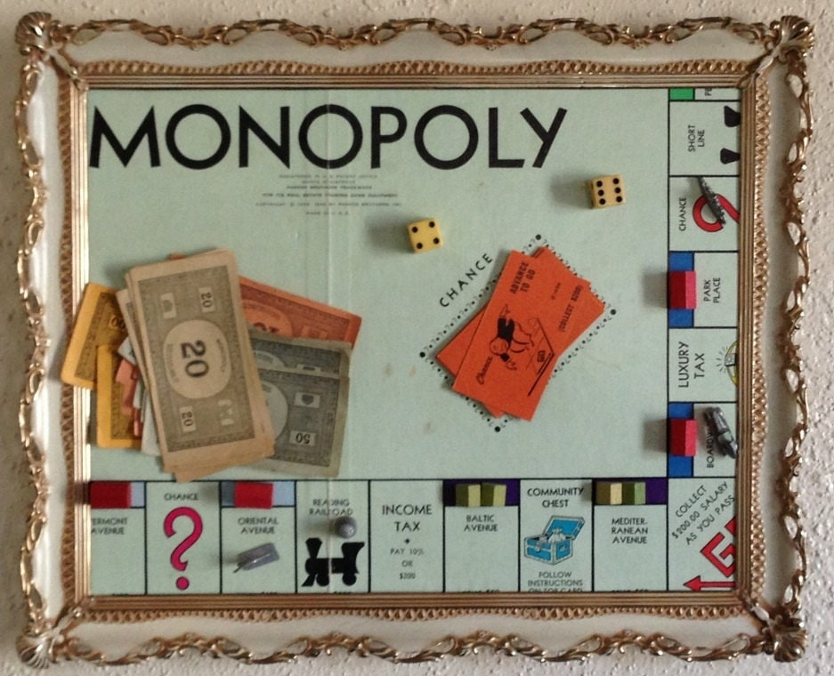 Vintage 1946 Monopoly Board Game Framed Art