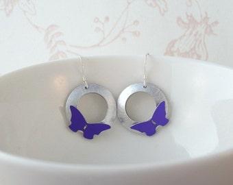 Anodised aluminium butterfly earrings