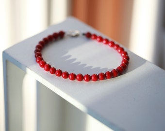 6mm Mens Beaded Red Sea Coral Bracelet - Red Sea Coral