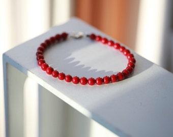 Designer Mens Beaded Stone Bracelet - Red Sea Coral , Turquoise , Tiger Eye , Black Onyx