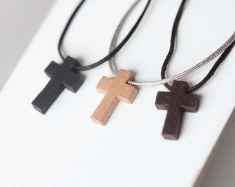 Mens Wooden cross - Mens Nylon Necklace - Wood cross - Stunning Wood cross