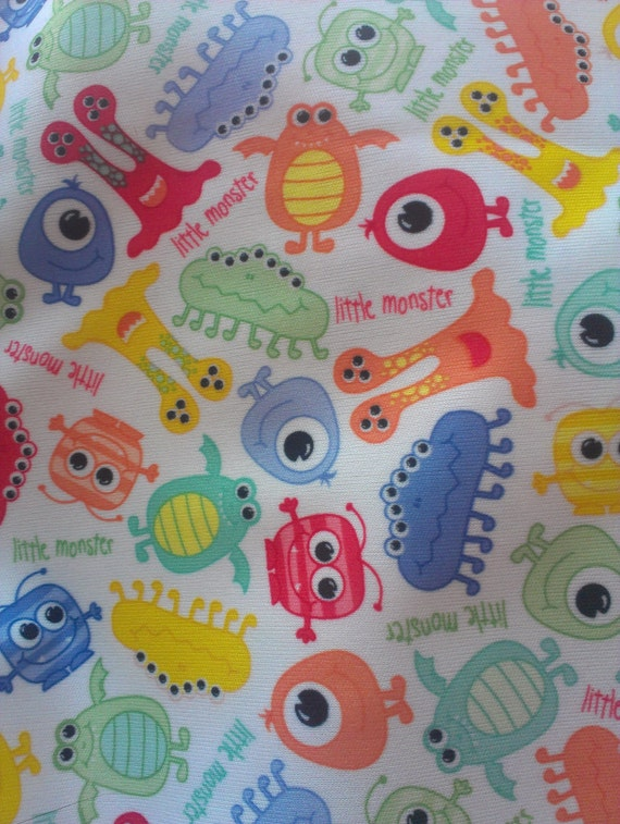 Diaper cut little monster waterproof pul print by loriautumn for Baby monster fabric