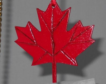 Two Maple Leaf Christmas Ornaments, Bright Red