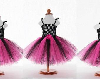 TUTU DRESS...Black and Hot Pink Tutu Dress...Newborn Tutu...Baby Tutu...Toddler Tutu...Cakesmash Tutu...Birthday Tutu...Summer Dress